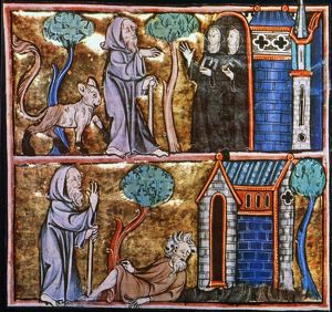 TRAVELS OF MERLIN. Illustration from a 14th century French manuscript