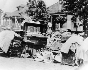 TULSA RACE RIOT, 1921. Furniture in the street during the race riot in Tulsa, Oklahoma