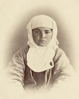 TURKESTAN: MAZANG, c1865. Portrait of a young Mazang woman of Turkestan