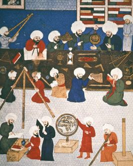 TURKISH ASTRONOMERS. Astronomers in the Istanbul observatory. Ottoman manuscript illumination