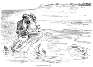 beach/the turning tide pen ink drawing charles dana