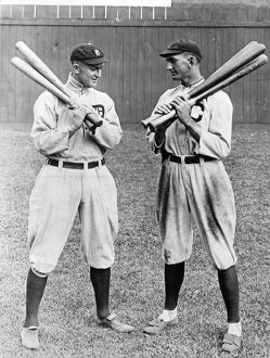 Ty Cobb (1886-1961) and 'Shoeless' Joe Jackson (1888-1951). American baseball players