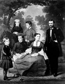 Ulysses S. Grant (1822-1885), 18th President of the United States, and his family