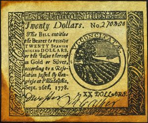 United States Continental Currency twenty dollar banknote, 1778.