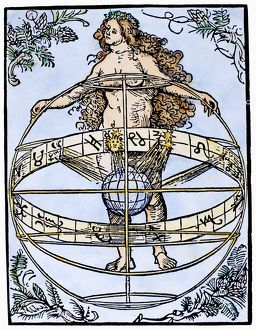 URANIA, 1502. Urania, the muse of astronomy, holding an armillary sphere with the zodiac