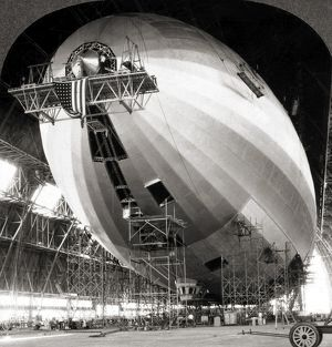 USS AKRON CONSTRUCTION. The USS Akron (ZRS-4) photographed in its shed in Akron, Ohio