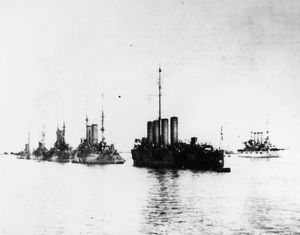 USS CONNECTICUT, 1909. The USS Connecticut and Russian warships off the coast of Messina