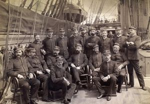USS MOHICAN, c1885. Group photo of officers of the steam sloop of war USS Mohican