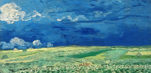 VAN GOGH: WHEATFIELDS, 1890. 'Wheatfields Under Thunderclouds.' Oil on canvas