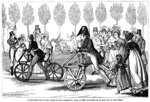 The velocipede course in the garden of the Luxembourg, Paris, France, in 1818. Wood engraving