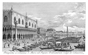 VENICE: GRAND CANAL, 1735. Riva degli Schiavoni in Venice, Italy, looking east