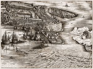 VENICE: HARBOR, c1500. /nShips in the harbor of Venice