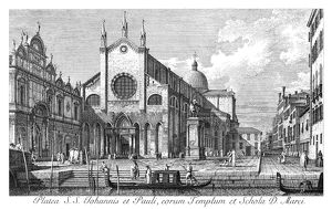 VENICE: MONUMENT, 1735. Campo Santi Giovanni e Paolo in Venice, Italy, and the