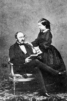 VICTORIA & ALBERT, c1860. Queen Victoria of England photographed with her husband