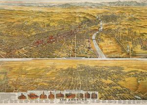 VIEW OF LOS ANGELES, 1894. Bird's-eye view of Los Angeles, California