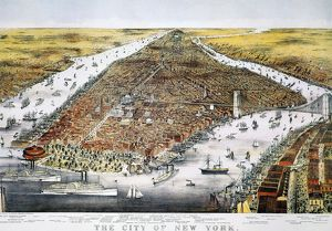 VIEW OF NEW YORK, 1876. Bird's-eye view of New York and parts of Brooklyn