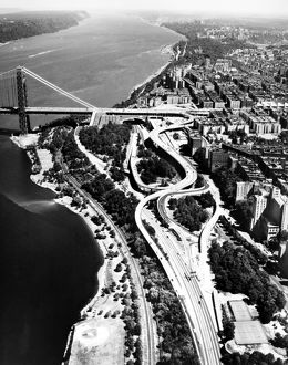 VIEW OF NEW YORK approaches to the George Washington Bridge, looking north. Photograph.
