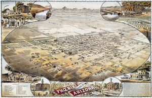 VIEW OF PHOENIX, ARIZONA. Bird's-eye view of Phoenix, Arizona. Lithograph by C