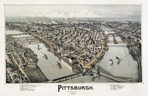 VIEW OF PITTSBURGH, 1902. Bird's-eye view of the city of Pittsburgh, Pennsylvania
