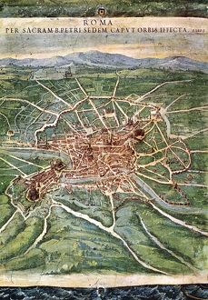 VIEW OF ROME, 1631. Aerial view of Rome, Italy, as it appeared in 1631. Painting