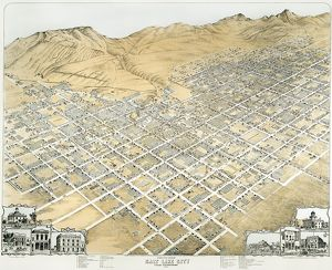 VIEW OF SALT LAKE CITY, UTAH. Salt Lake City, Utah Territory. Lithograph, 1870