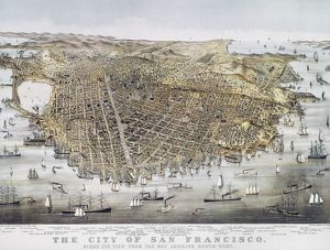 VIEW OF SAN FRANCISCO, 1878. Bird's-eye view of San Francisco from the Bay