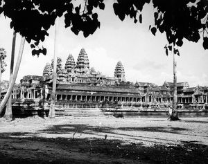 View of the temple ruins at Angkor Wat, Cambodia. Photographed in 1960.