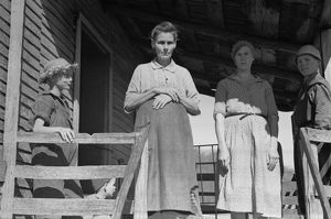 VIRGINIA: FAMILY, 1935. A family on their porch in Shenandoah National Park, Virginia