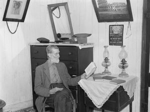 VIRGINIA: INTERIOR, 1935. Interior of Postmaster Brown's home at Old Rag Mountain