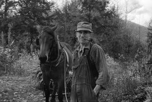 VIRGINIA: MAN & HORSE, 1935. A man with a horse in Nicholson Hollow, Shenandoah National