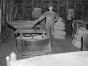 VIRGINIA: MILL, 1935. Interior of a mill in Nethers, Shenandoah National Park, Virginia