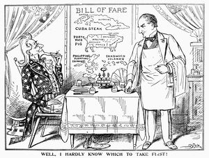 'Well, I Hardly Know Which To Take First!' American cartoon comment, c1900
