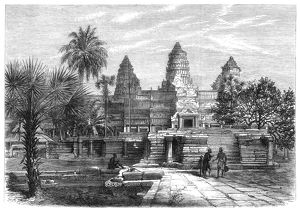 Western facade of Angkor Wat, the great temple of the ancient Khmer Empire: wood engraving