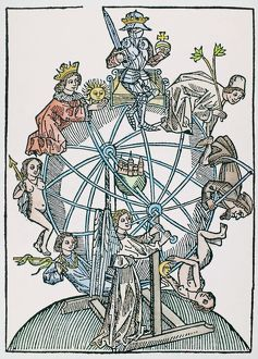 WHEEL OF FORTUNE. An astrological representation of the Wheel of Fortune, depicting