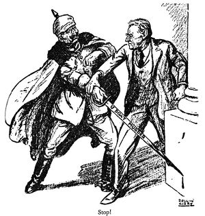 'Wilson and the Kaiser.' American cartoon by Rollin Kirby from the New York 'World