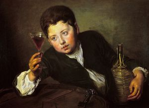 food drink/wine taster oil canvas early 18th century philippe