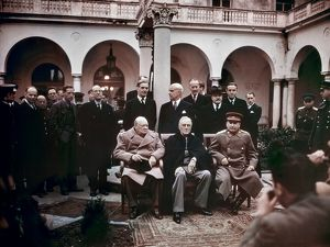 Winston Churchill, Franklin D. Roosevelt and Joseph Stalin at the Yalta Conference