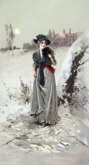 WINTER GIRL, c1895. 'The Winter Girl.' Lithograph by Percy Moran, c1895