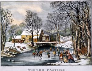 WINTER PASTIME, 1870. Lithograph, 1870, by Currier & Ives.