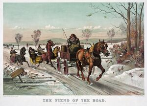 WINTER ROAD, c1881. 'The Fiend of the Road