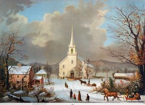 WINTER SCENE, c1875. 'Winter Sunday in Olden Times.' American lithograph, c1875.