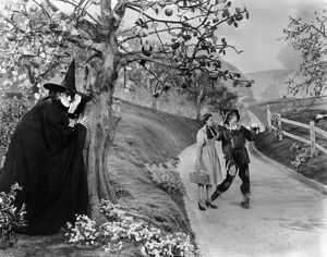 WIZARD OF OZ, 1939. Margaret Hamilton as the Wicked Witch of the West, Judy Garland as Dorothy