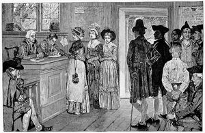 WOMEN VOTING, c1800. Women at the polls in New Jersey when they were permitted to vote between 1790