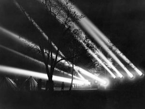 WORLD WAR I: ANTI-AIRCRAFT, c1917. Searchlights of a mobile anti-aircraft installation
