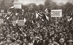 WORLD WAR I: BERLIN, 1919. The National Union of Young Germans at the Roon Monument