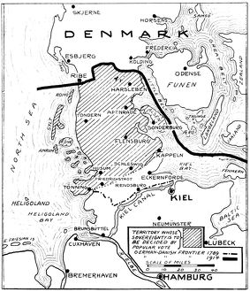 WORLD WAR I: MAP, 1919. The Schleswig territory bordering Denmark and Germany shown