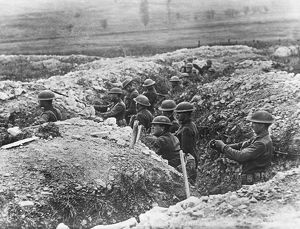 WORLD WAR I: TRENCH WARFARE, c1917. Entrenched American soldiers