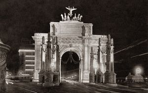 WORLD WAR I: VICTORY ARCH. The Victory Arch at Madison Square illuminated at night