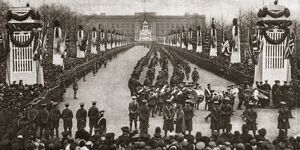 WORLD WAR I: VICTORY MARCH. Large pillars mark the route of a victory march through London