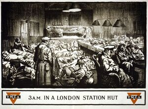 WORLD WAR I: Y.M.C.A. 3 a.m. in a London Y.M.C.A., with troops sleeping on couches